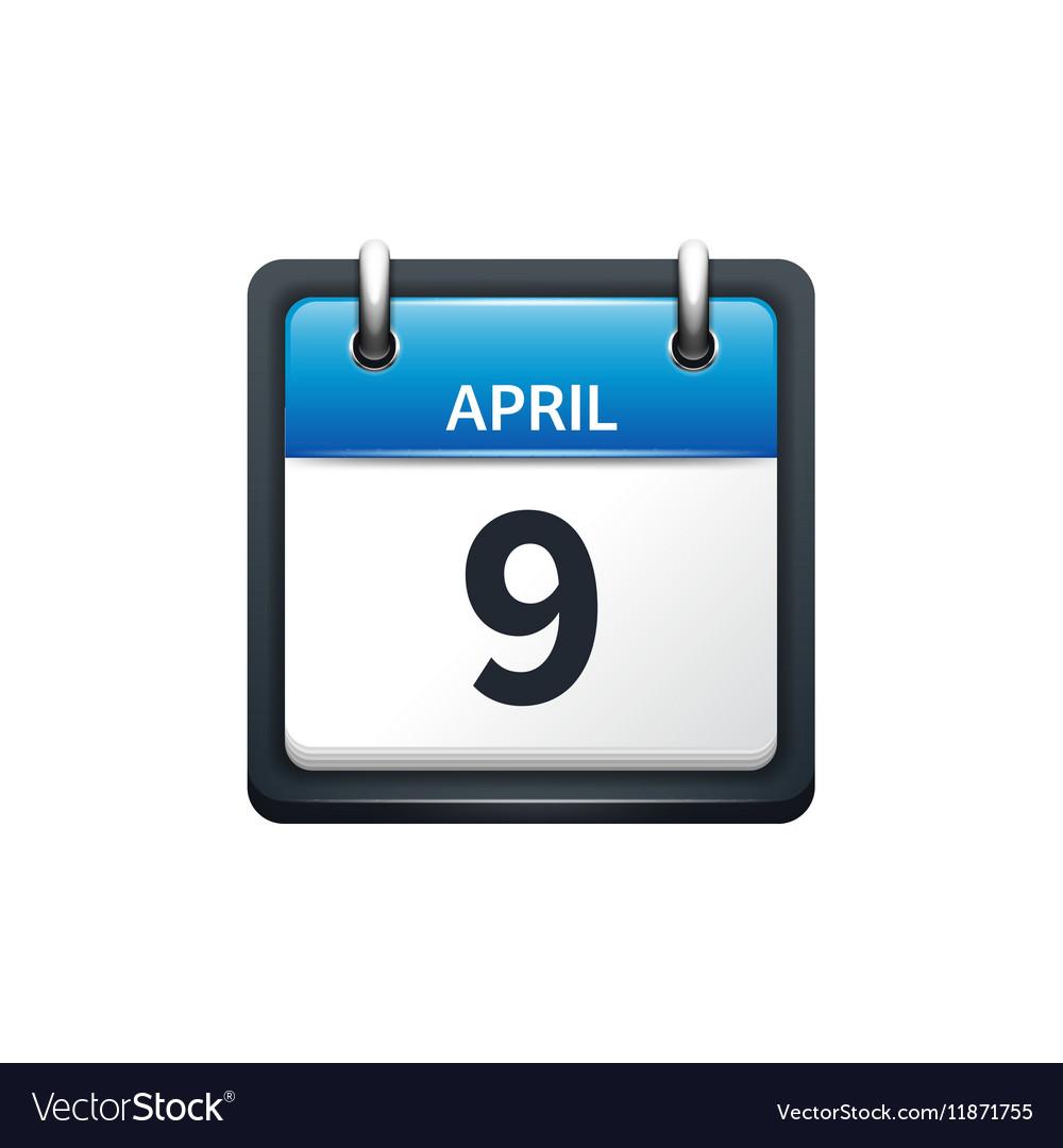 April 9 Calendar icon flat vector image