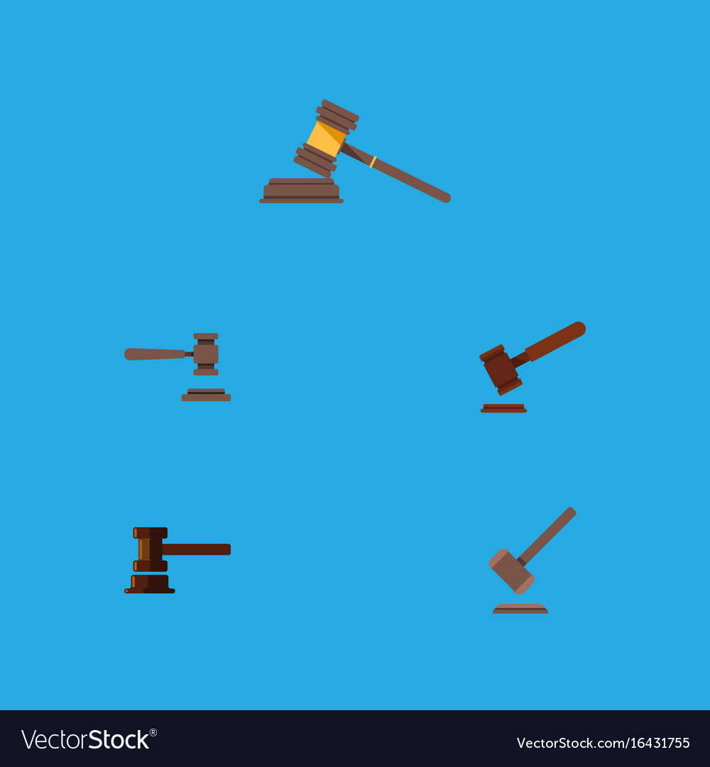 Flat icon lawyer set of justice court tribunal vector image