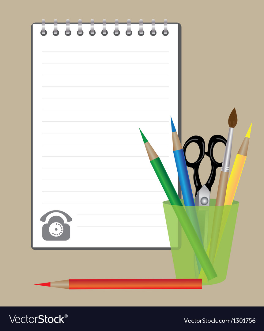Notepad and drawing supplies vector image