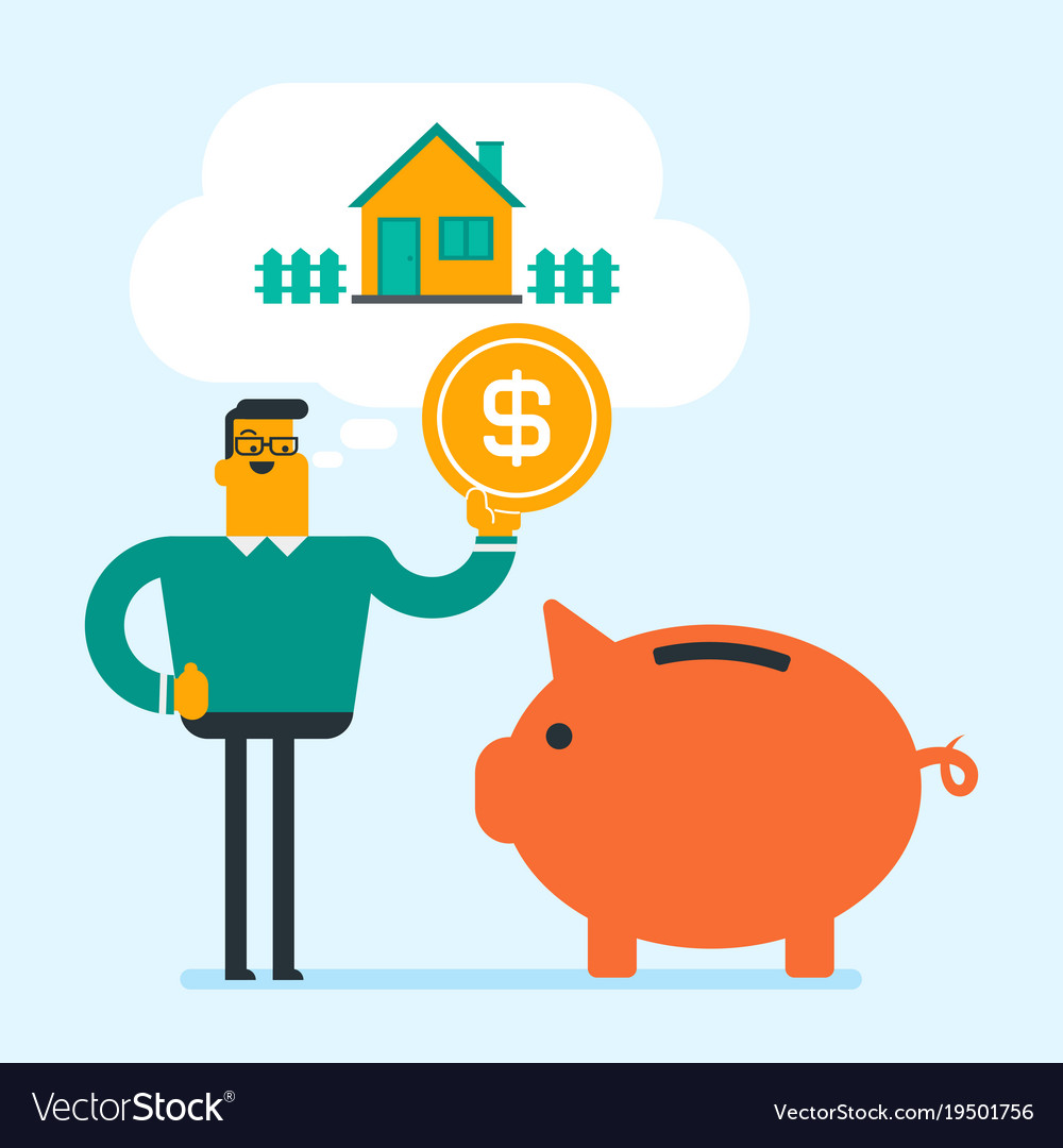 Man Saving Money In Piggy Bank For Buying House Vector Image
