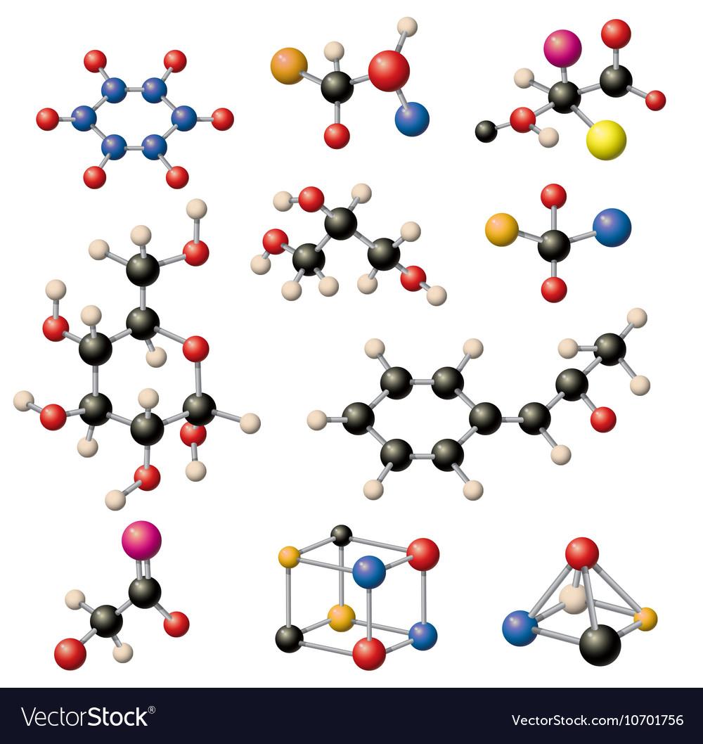 Molecular structure set vector image