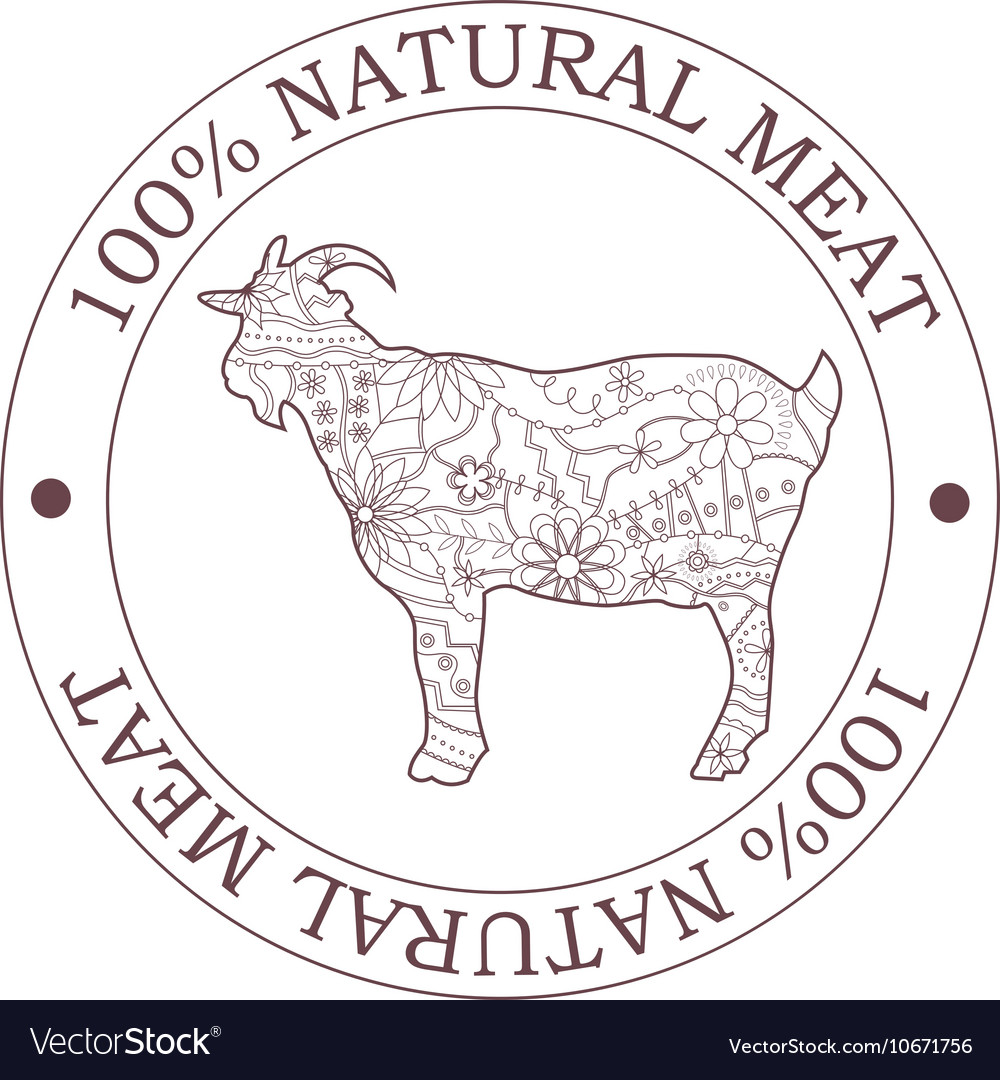 Natural meat stamp with goat vector image