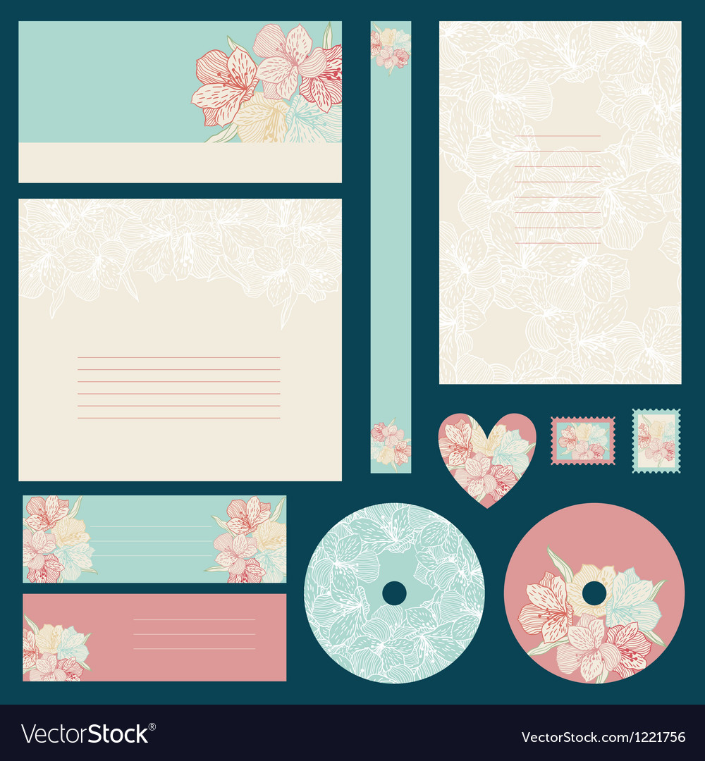 Set of wedding invitations with flowers background vector image