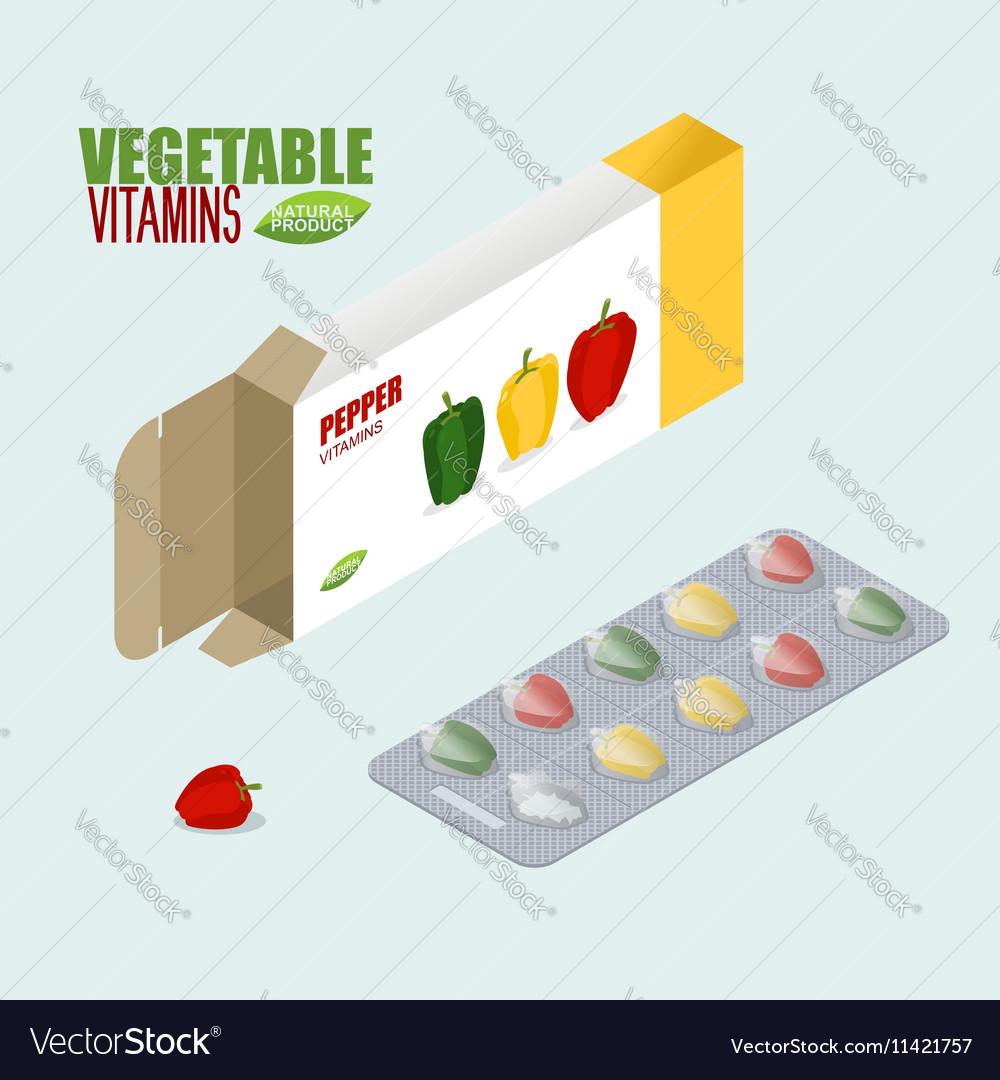 Pepper vitamins Vegetarian pills Tablets in pack vector image