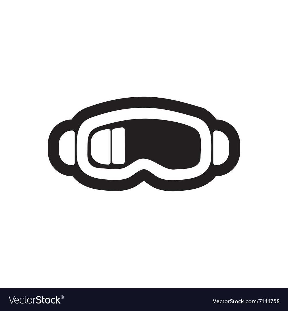 Flat icon in black and white style ski goggles