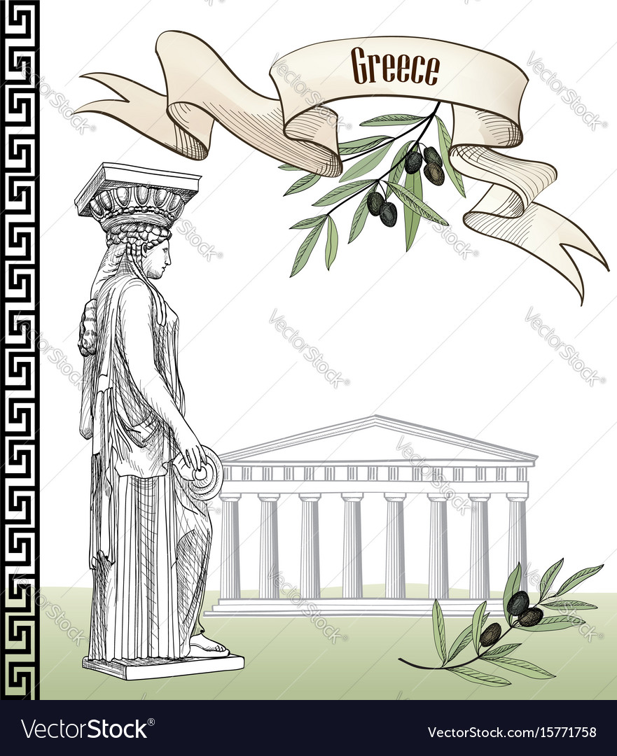 Ancient greek sign set travel greece background vector image
