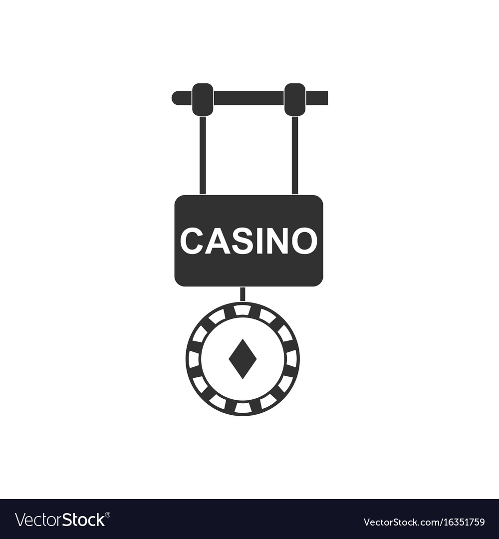 Black icon on white background casino street