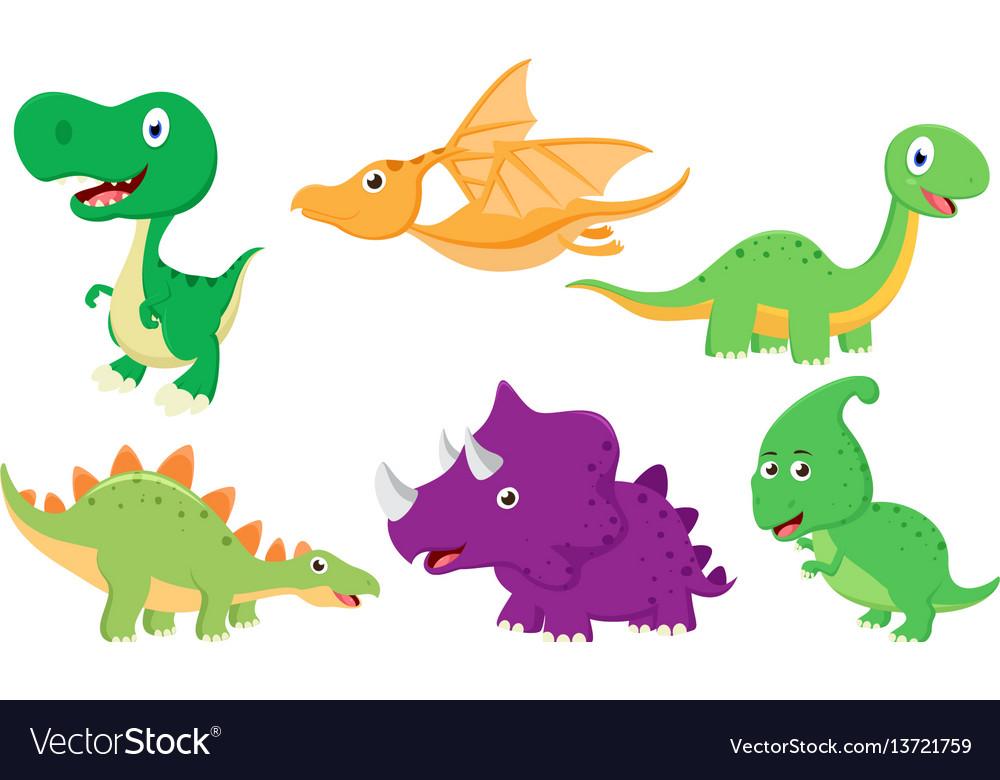 Cute dinosaur cartoon collection set vector image