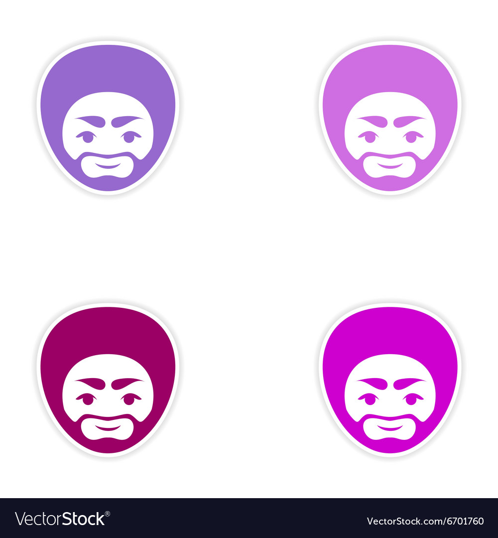 Set of stickers Indian man on white background