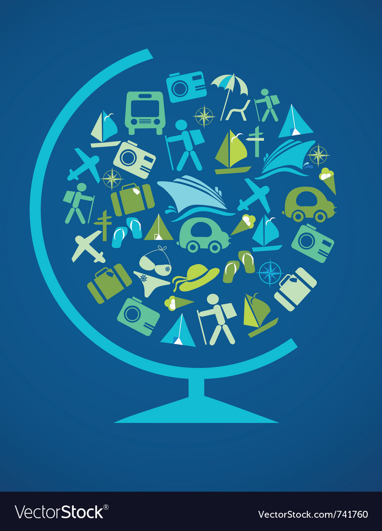 Blue globe with traveling template Vector Image