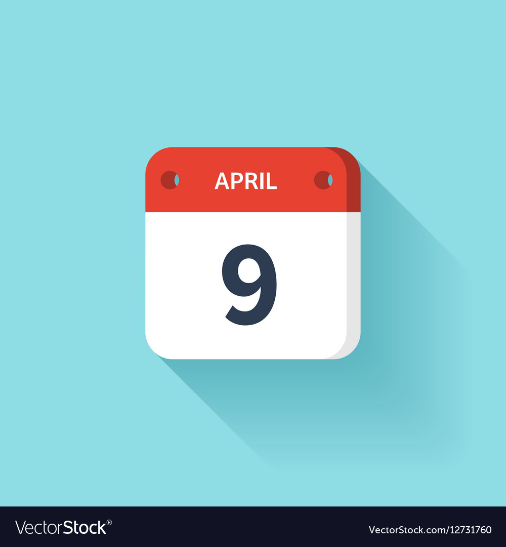 April 9 Isometric Calendar Icon With Shadow vector image