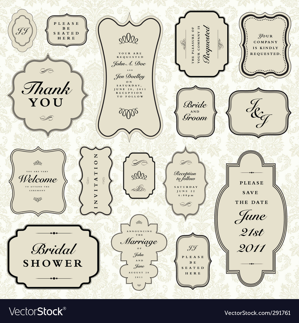 Wedding frame set vector image