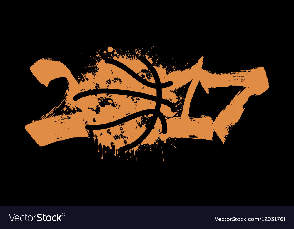 Abstract number 2017 and basketball vector image