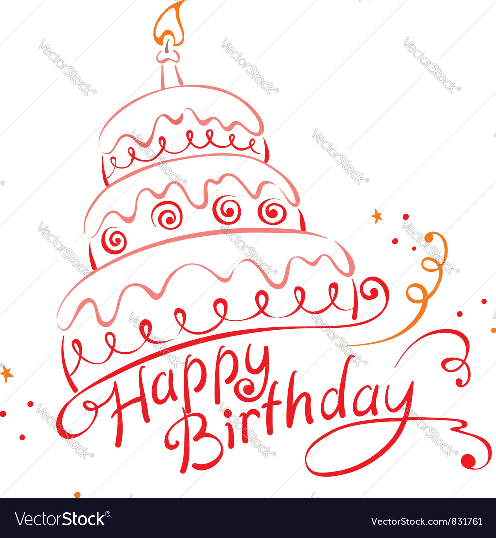 Cake ans Happy Birthday vector image