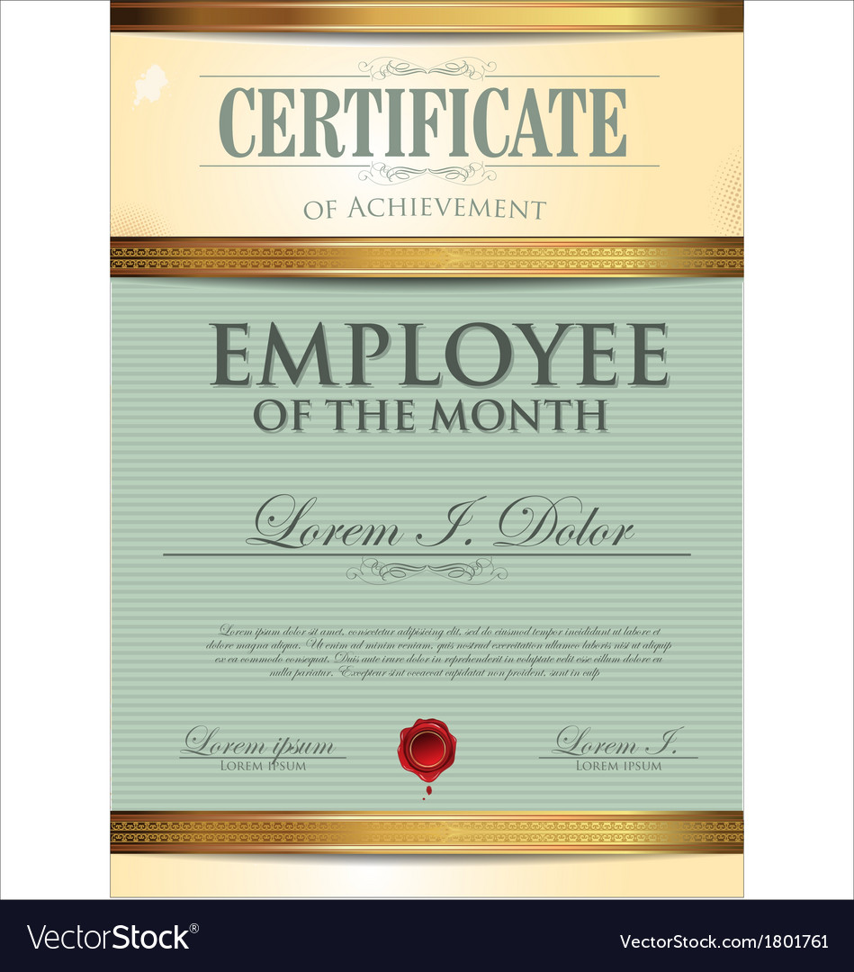 Certificate Template Employee Of The Month Vector Image  Best Employee Certificate Sample
