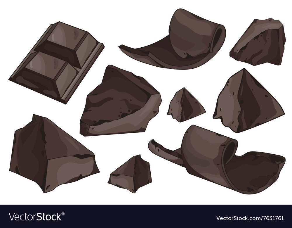 Chocolate shavings set on white background vector image