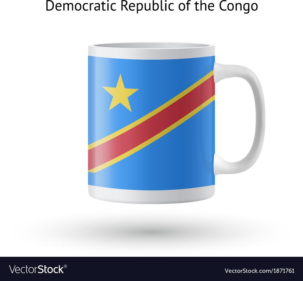 Democratic Republic of Congo flag souvenir mug on vector image