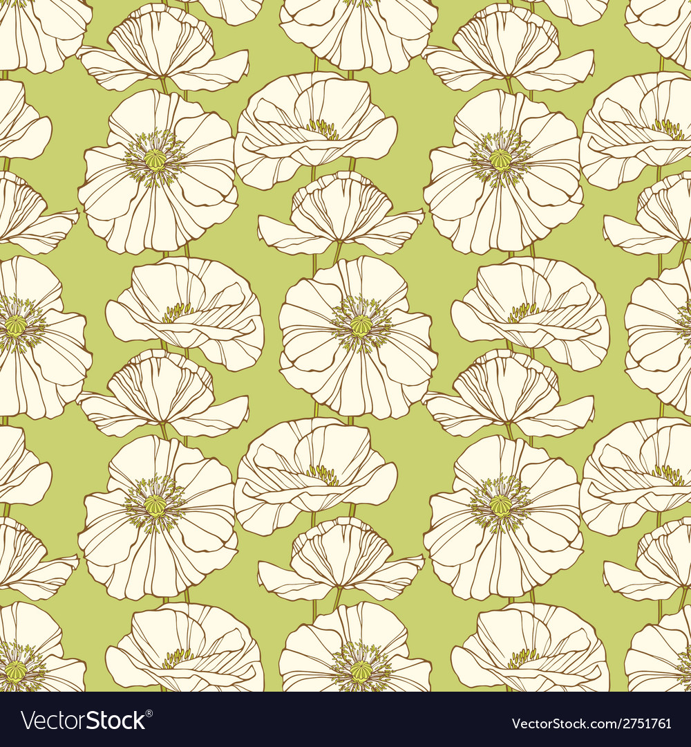 Seamless pattern with poppies Floral background vector image