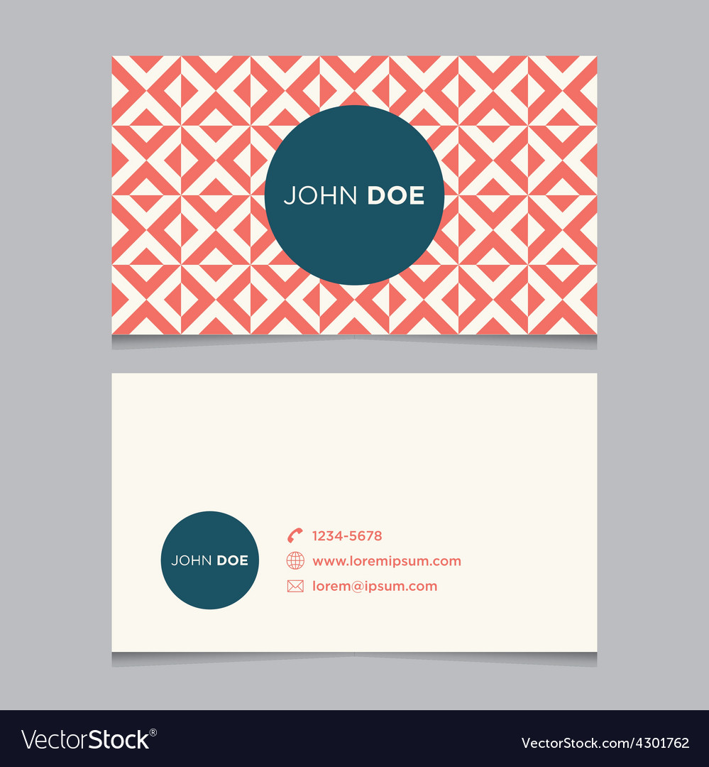 Business card pattern red 10 vector image