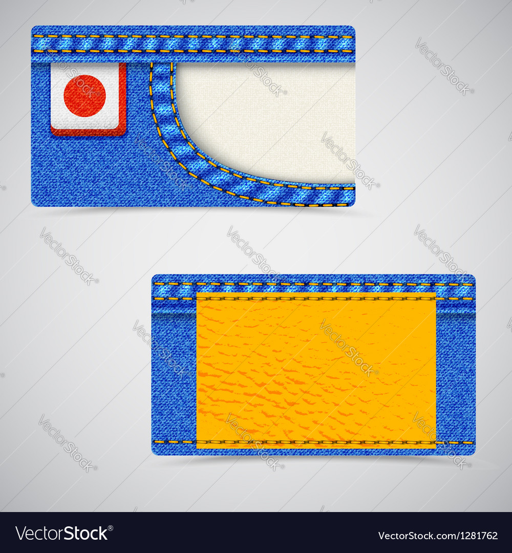 Jeans business card fl vector image