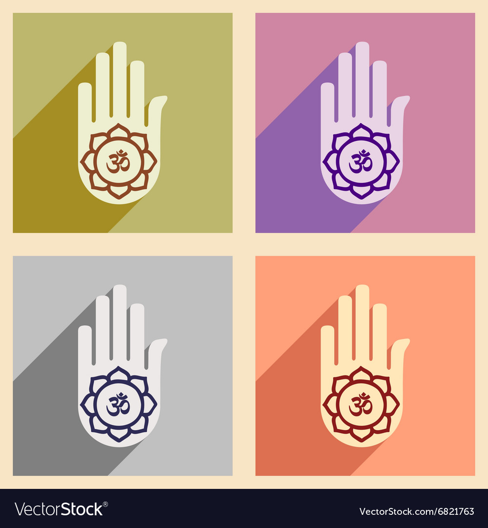 Modern flat icons collection with long shadow hand