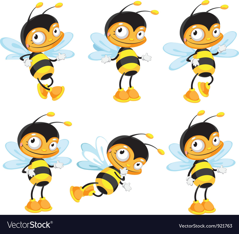 Set funny bee vector image