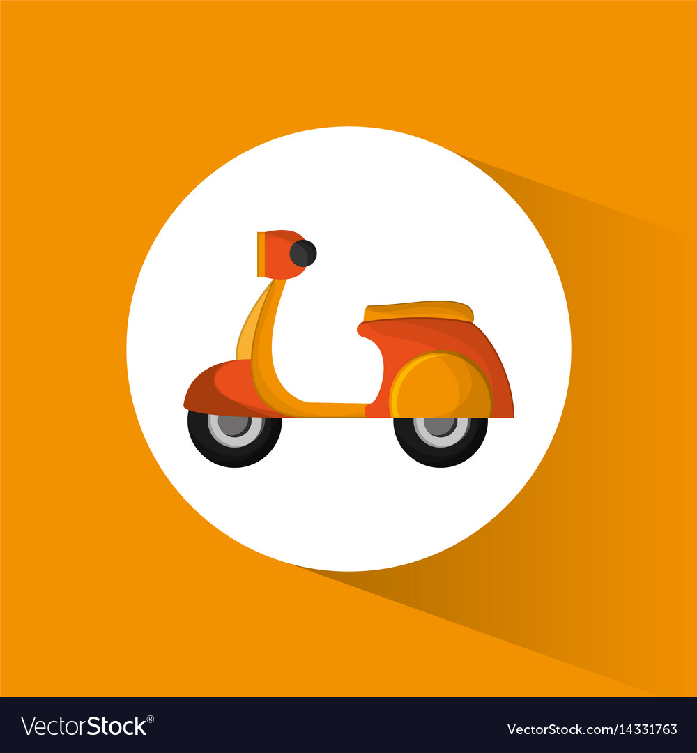 Yellow motorcycle delivery service transport vector image