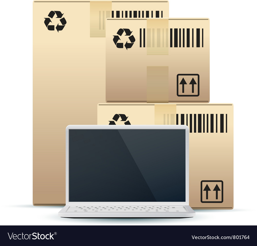 Laptop with cardboard boxes vector image