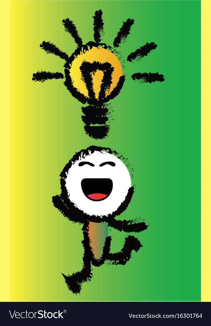 Cartoon happy idea vector image