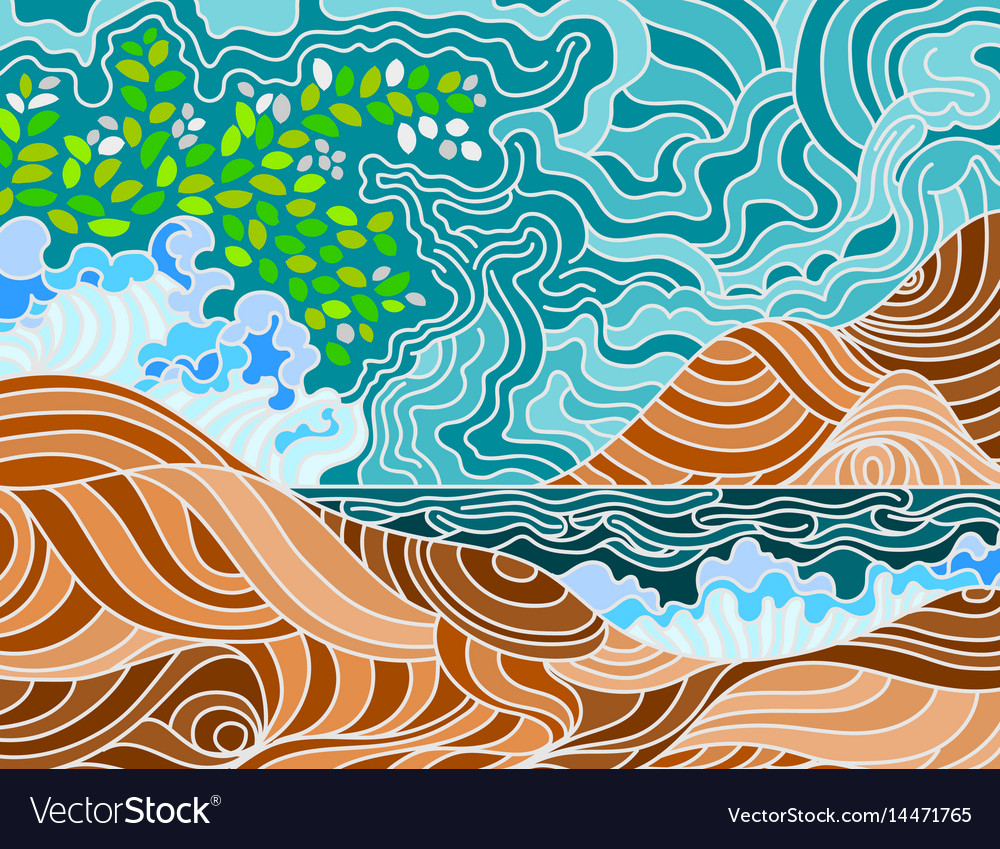 Abstract beach doodle scene