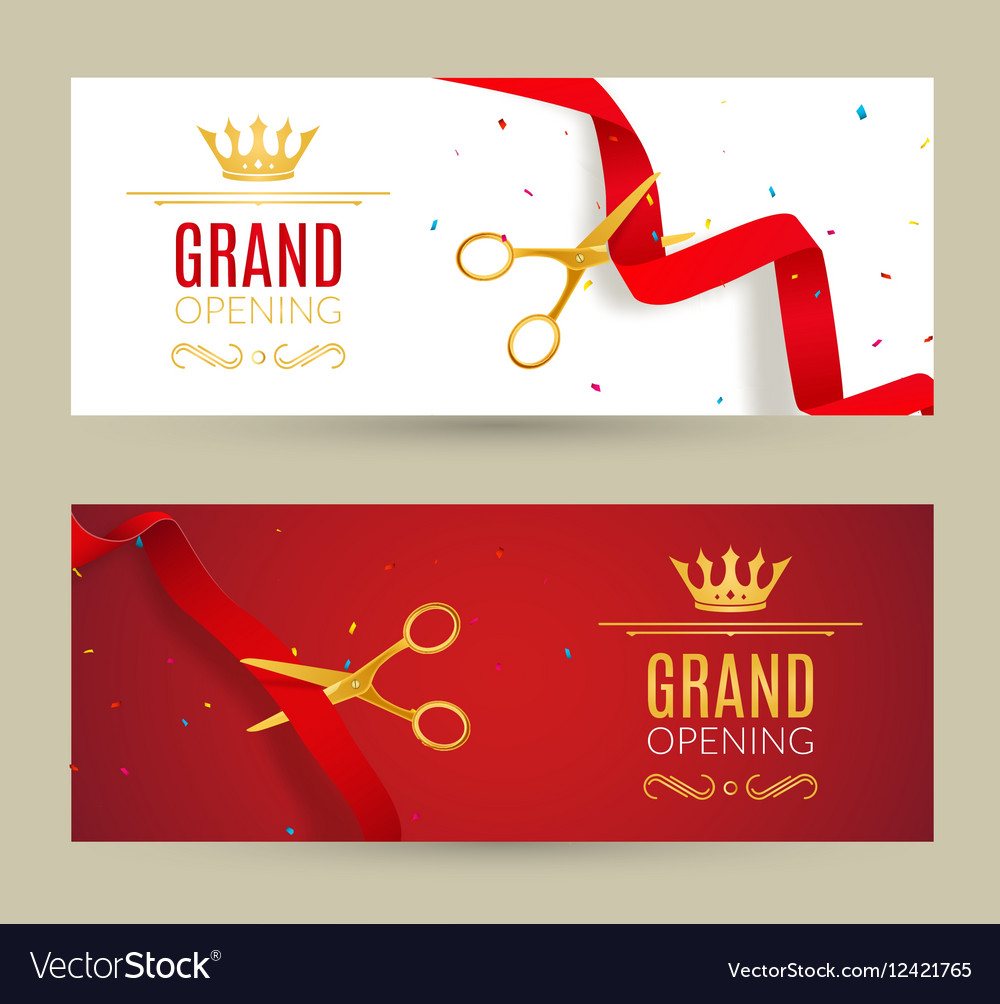 Grand opening invitation banner red ribbon cut vector image grand opening invitation banner red ribbon cut vector image stopboris Gallery