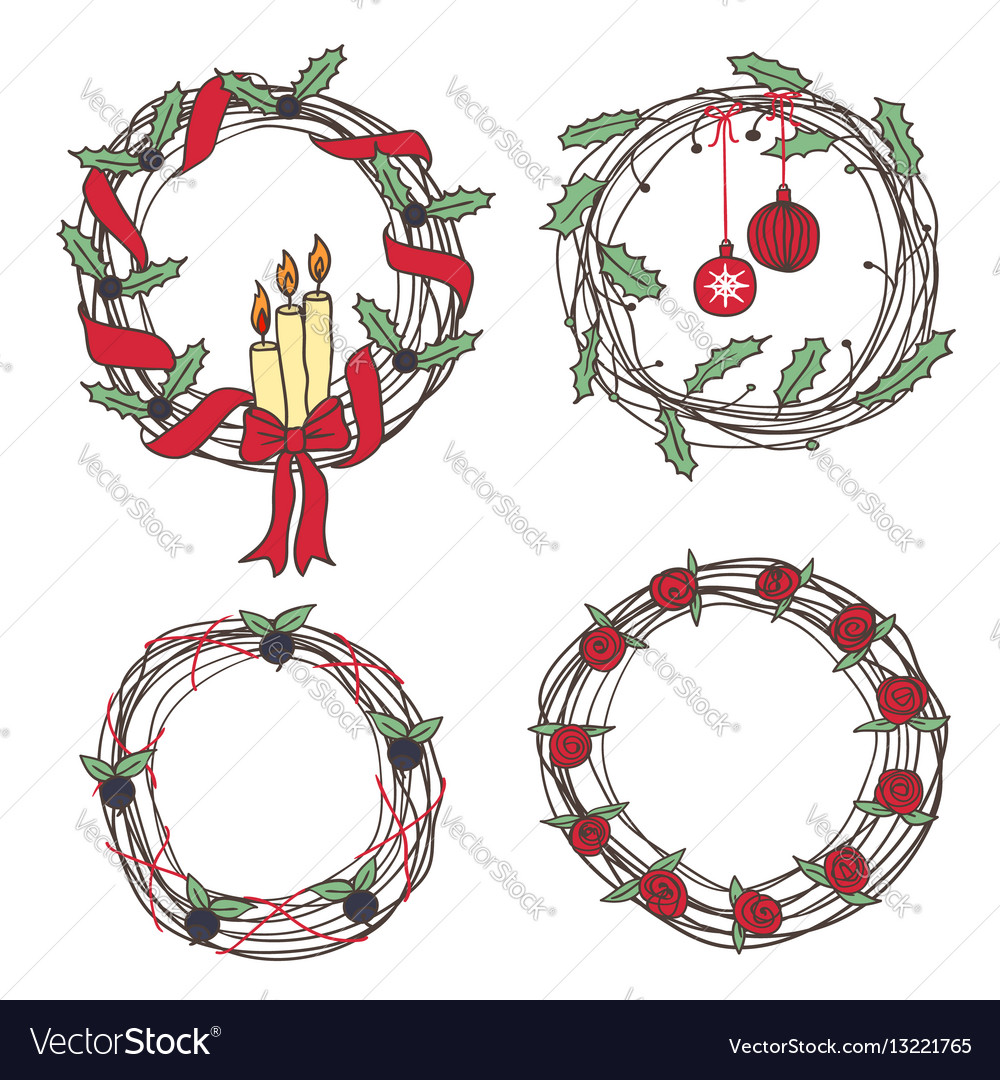 Holiday wreaths vector image