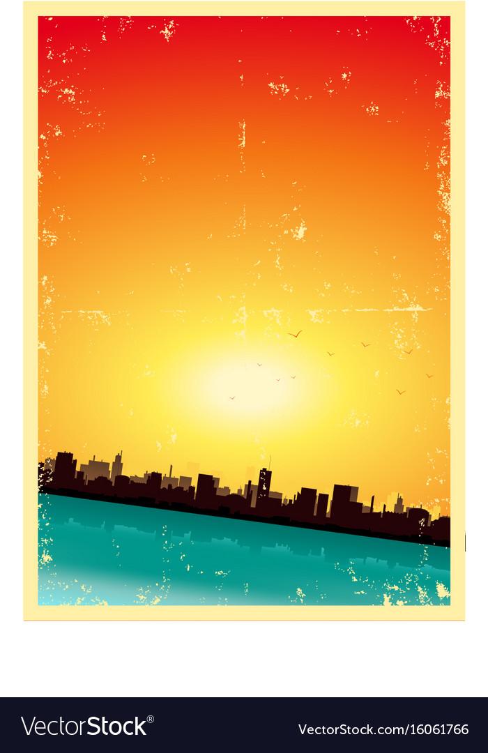 Grunge summer or spring vertical urban landscape vector image