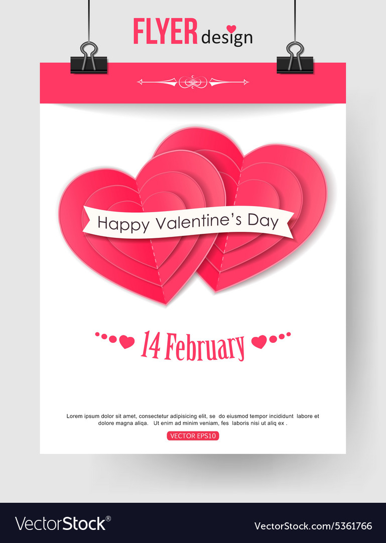Valentines Day Brochure Template With Paper Hearts