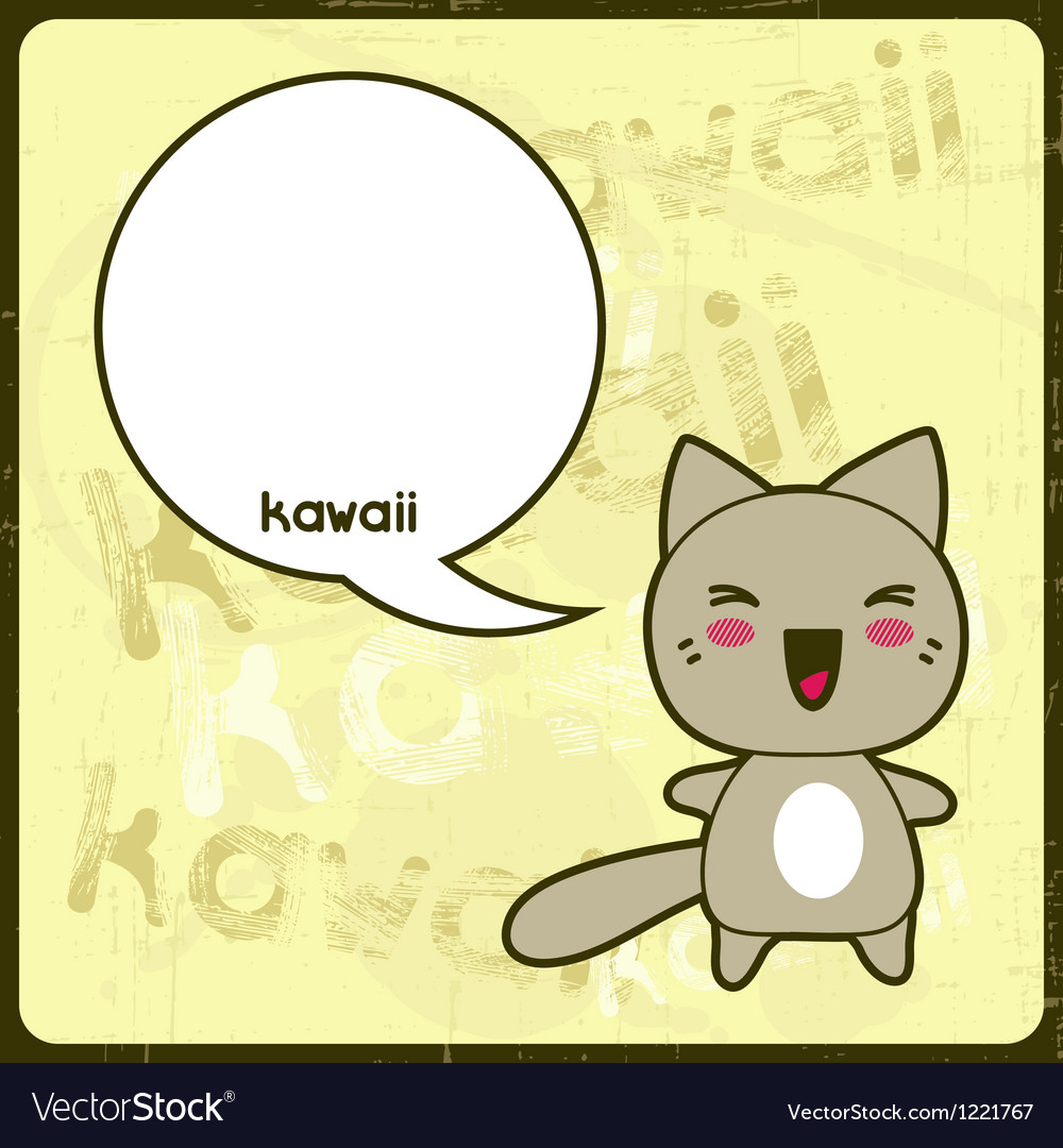Kawaii card with cute cat on the grunge background vector image