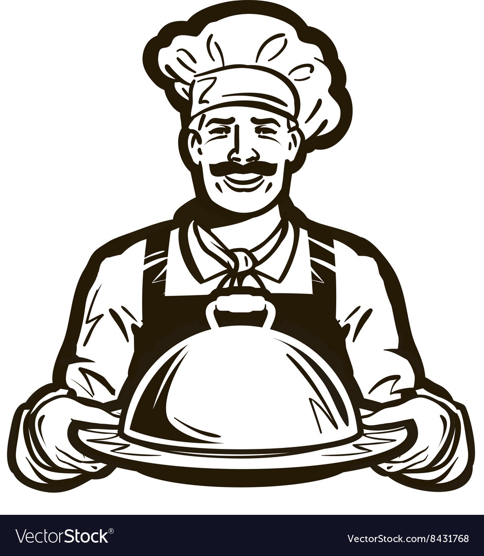 Cook chef logo restaurant cafe or dish Royalty Free Vector Image ...