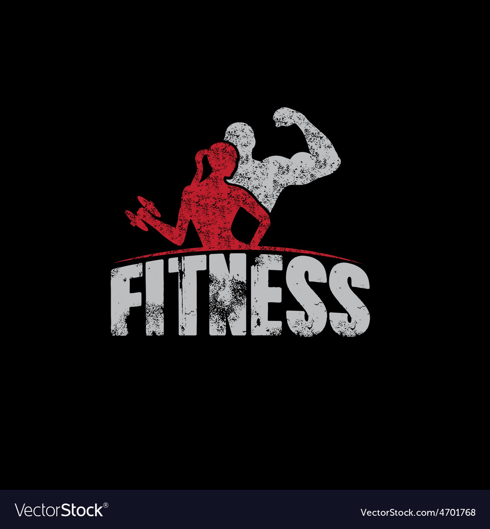 Gunge man and woman of fitness silhouette vector image