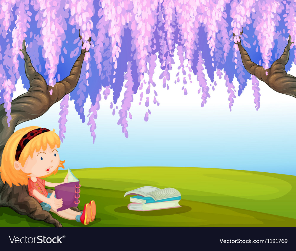 A girl reading a book at the park vector image