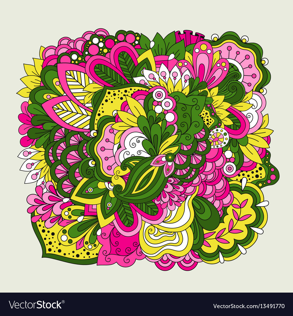 Colorful set of doodle flowers vector image