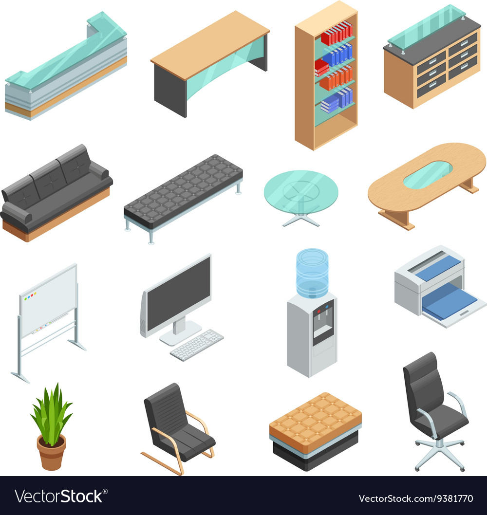 isometric office furniture vector collection. Office Furniture Isometric Icons Set Vector Image Collection