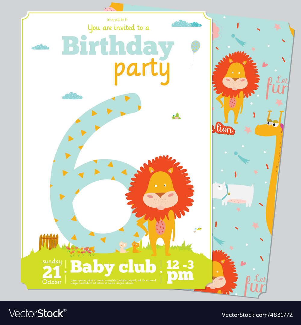 Birthday Party Invitation card template with cute Vector Image by – Birthday Party Card Template