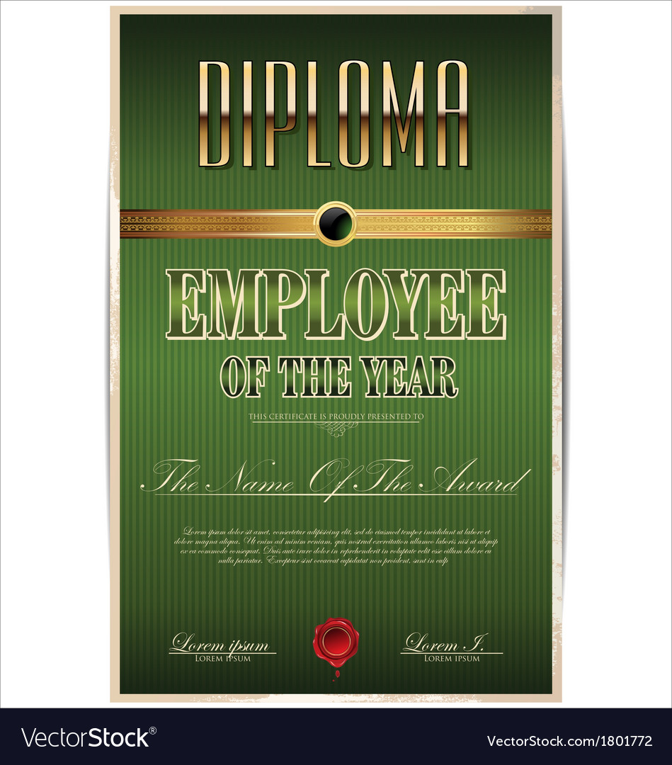Green Diploma employee of the year vector image