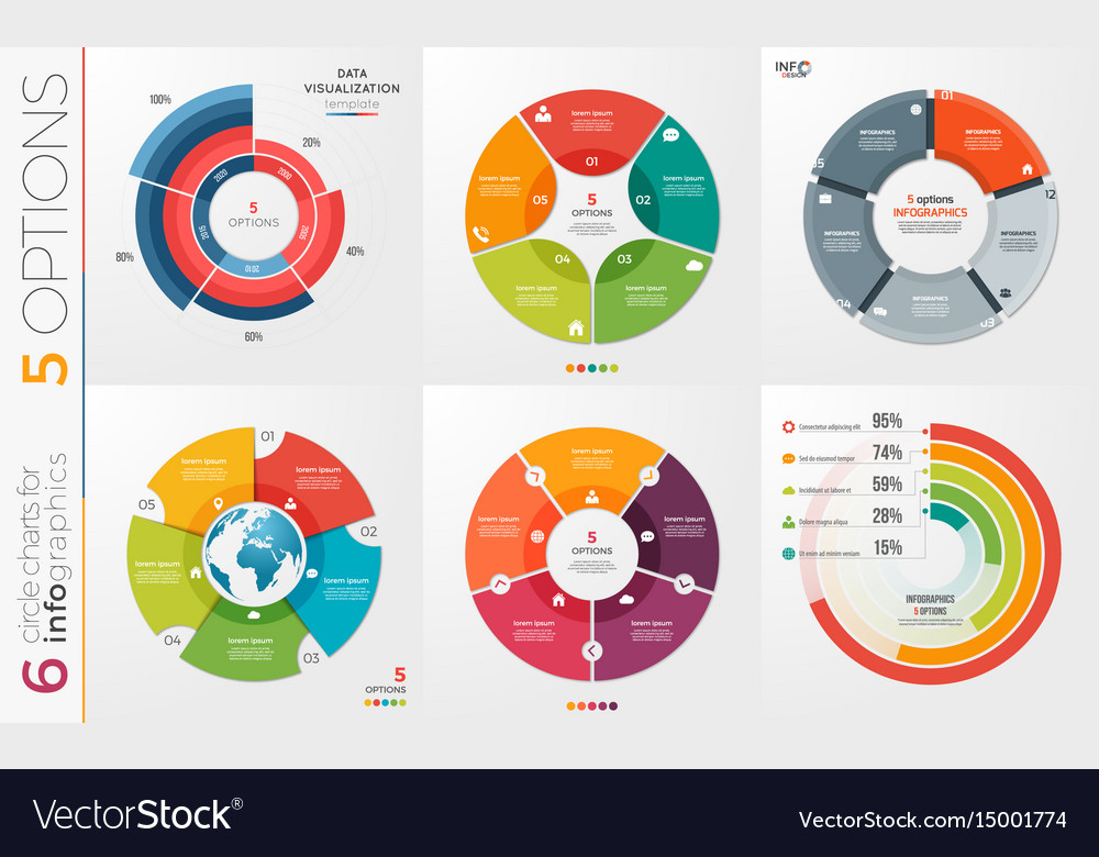 Collection of 6 circle chart templates for vector image