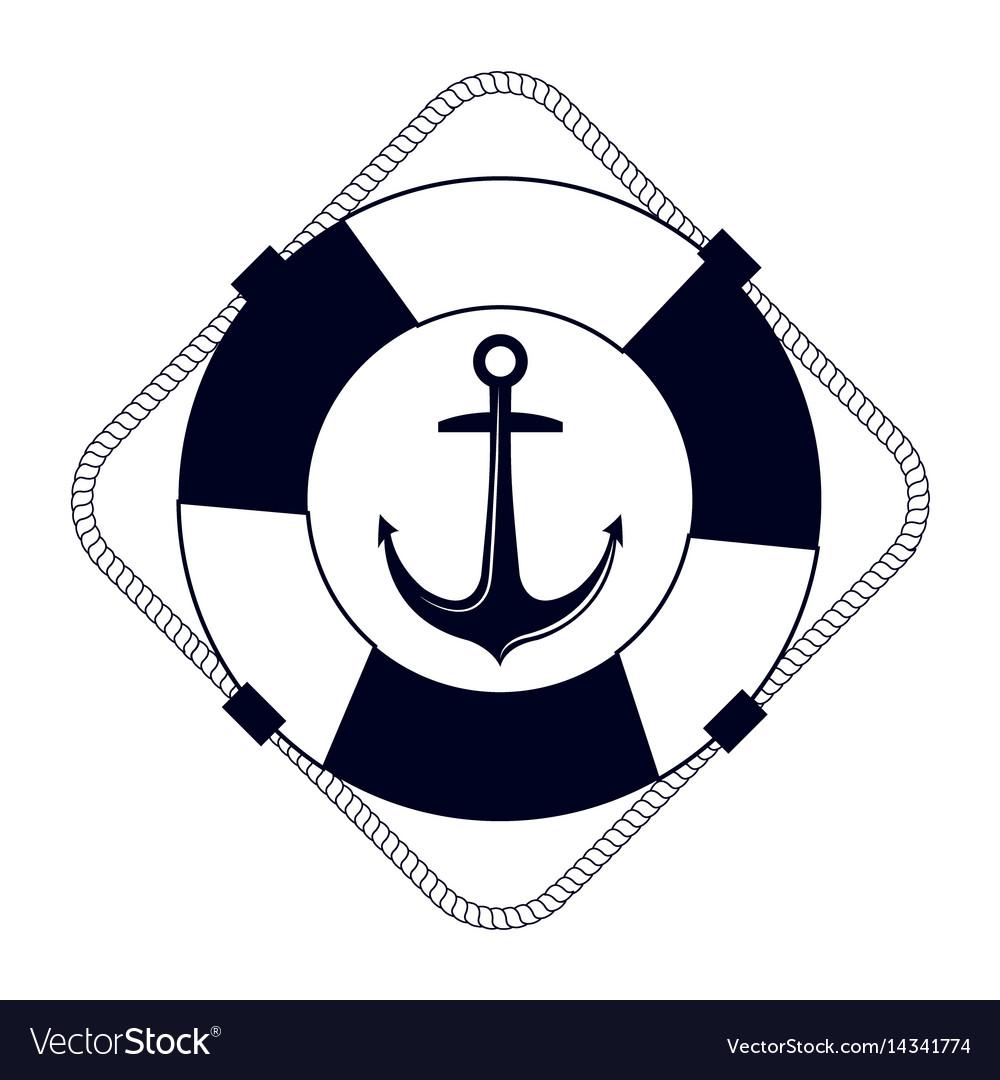 Icon lifebuoy nautical label isolated vector image