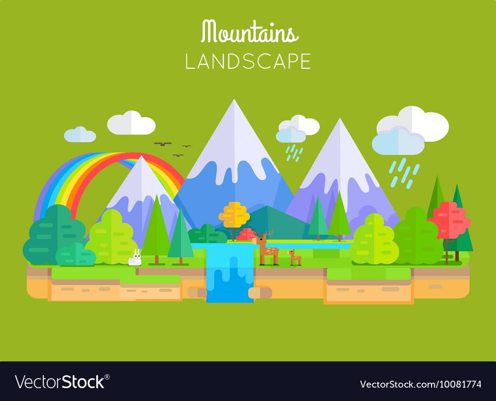 Mountains Landscape Concept In Flat Design vector image