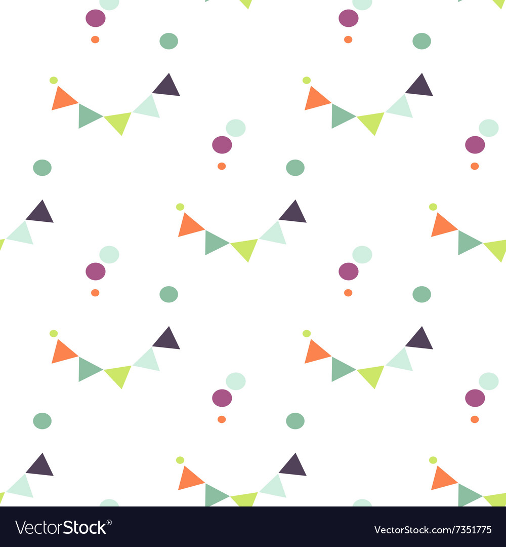 Bunting flag and confetti pattern vector image