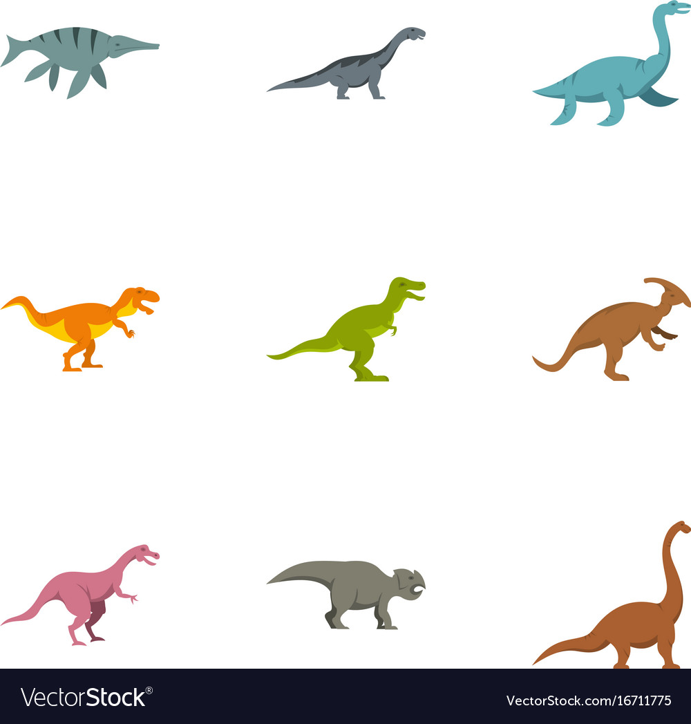 Different dinosaur icons set flat style vector image