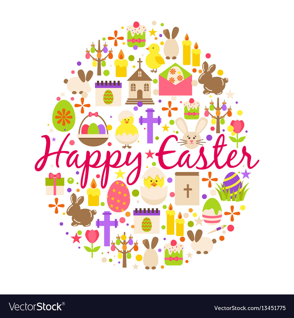 Happy easter greeting card cartoon decoration vector image
