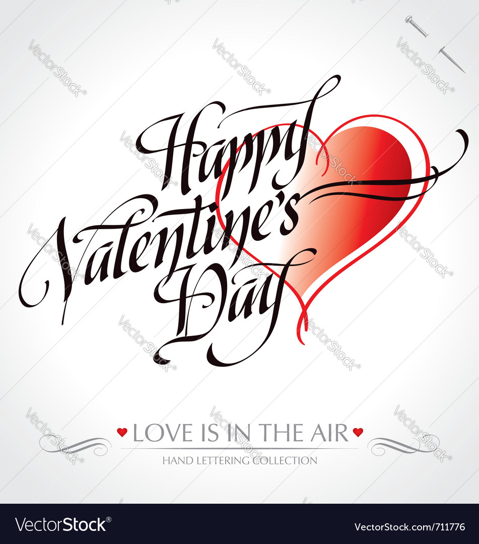 Valentine hand lettering vector image