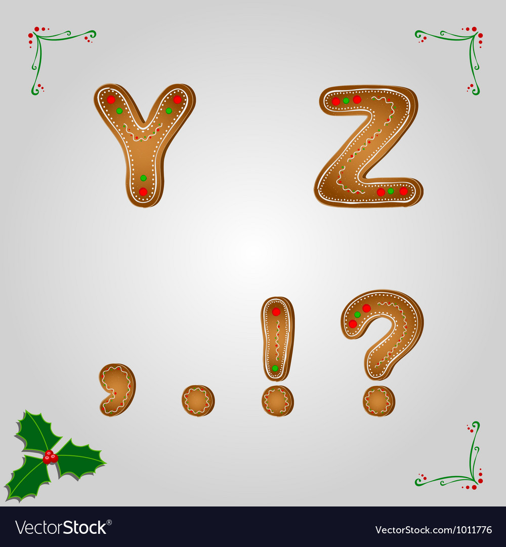 Gingerbread letters y z vector image
